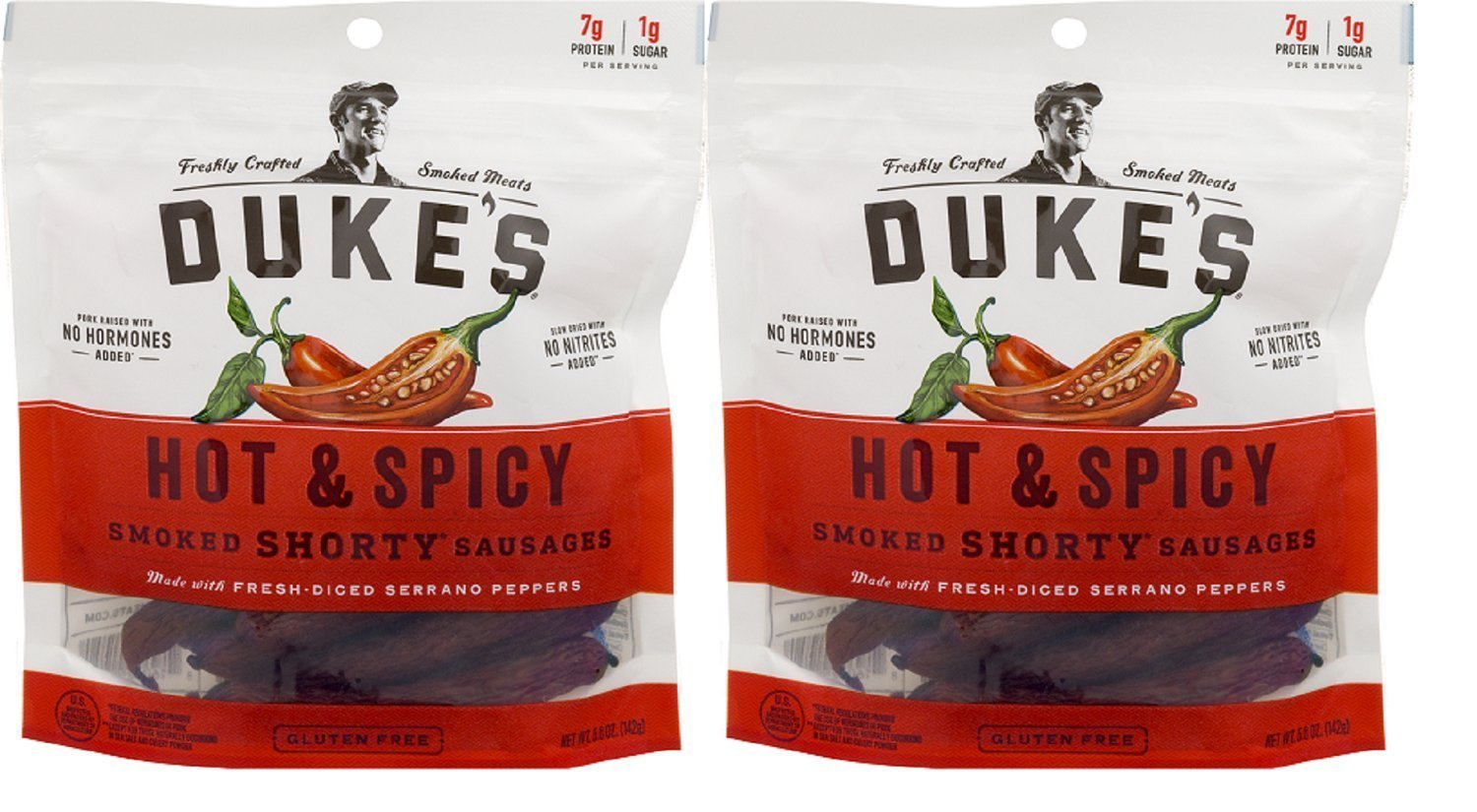 """DUKE'S Hot & Spicy """"Shorty"""" Smoked Sausages, 5.0-ounce Bags (Pack of 2)"""