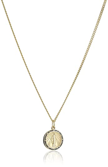 Amazon 14k gold filled round miraculous medal madonna pendant 14k gold filled round miraculous medal madonna pendant necklace with stainless steel chain 20quot aloadofball Images