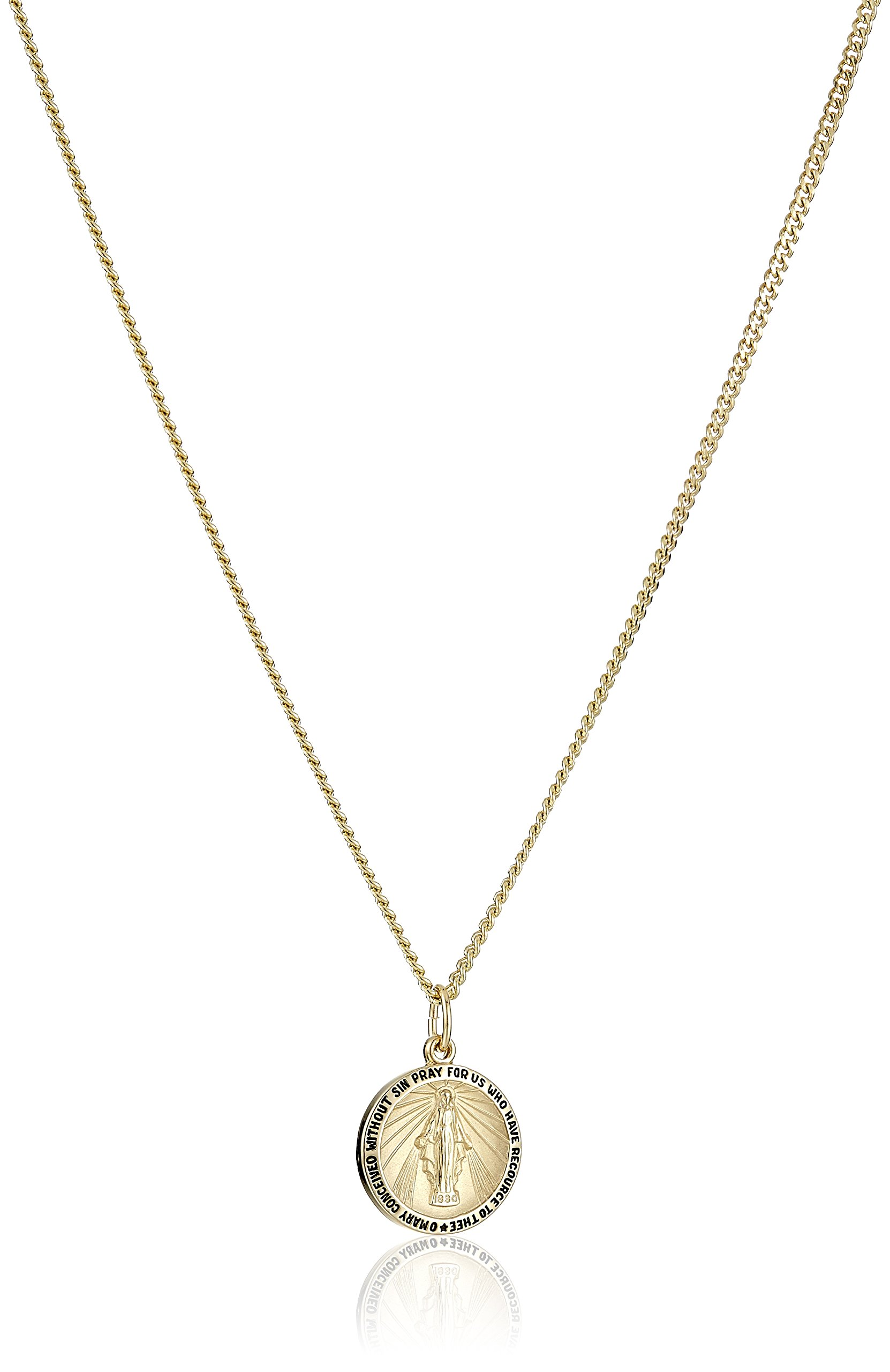 14k Gold-Filled Round Miraculous Medal Madonna Pendant Necklace with Stainless Steel Chain, 20''