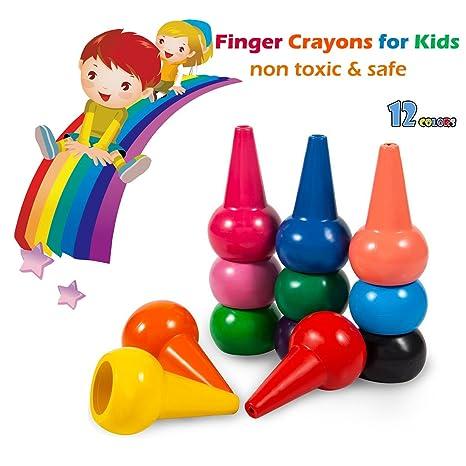 Pastelli A Dita Per Bambini 12 Colori Pastelli A Cera Non Tossici