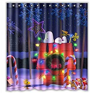 Pxh Snoopy Shower Curtain, Peanuts Waterproof Bathroom Shower Curtain Polyester Fabric Shower Curtain Home Decor (Color 1)