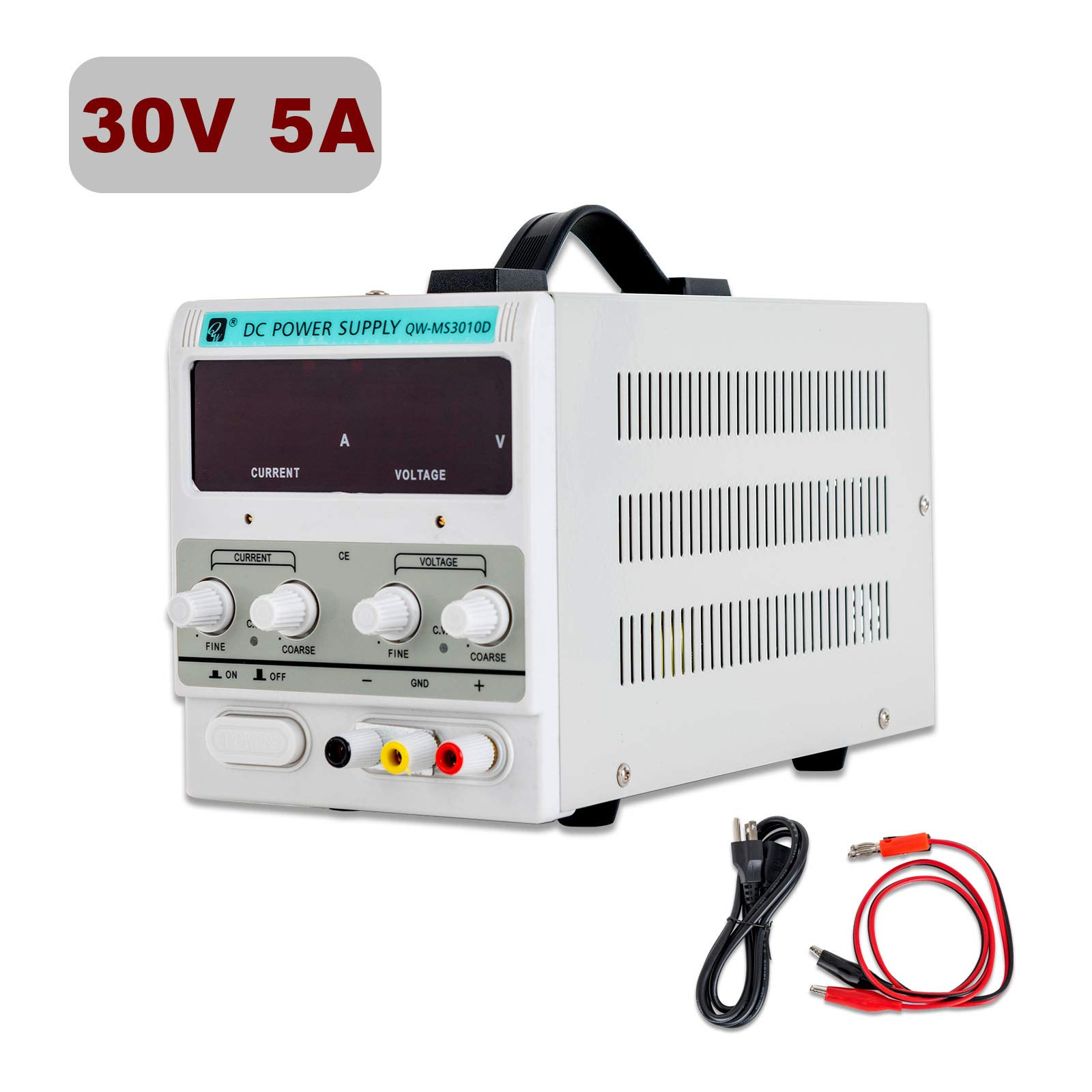 SUNCOO Variable DC Power Supply 30V 5A Adjustable Regulated Lab Bench Power Supply with Digital LED Display Alligator Clip Cable, US Standard Cord