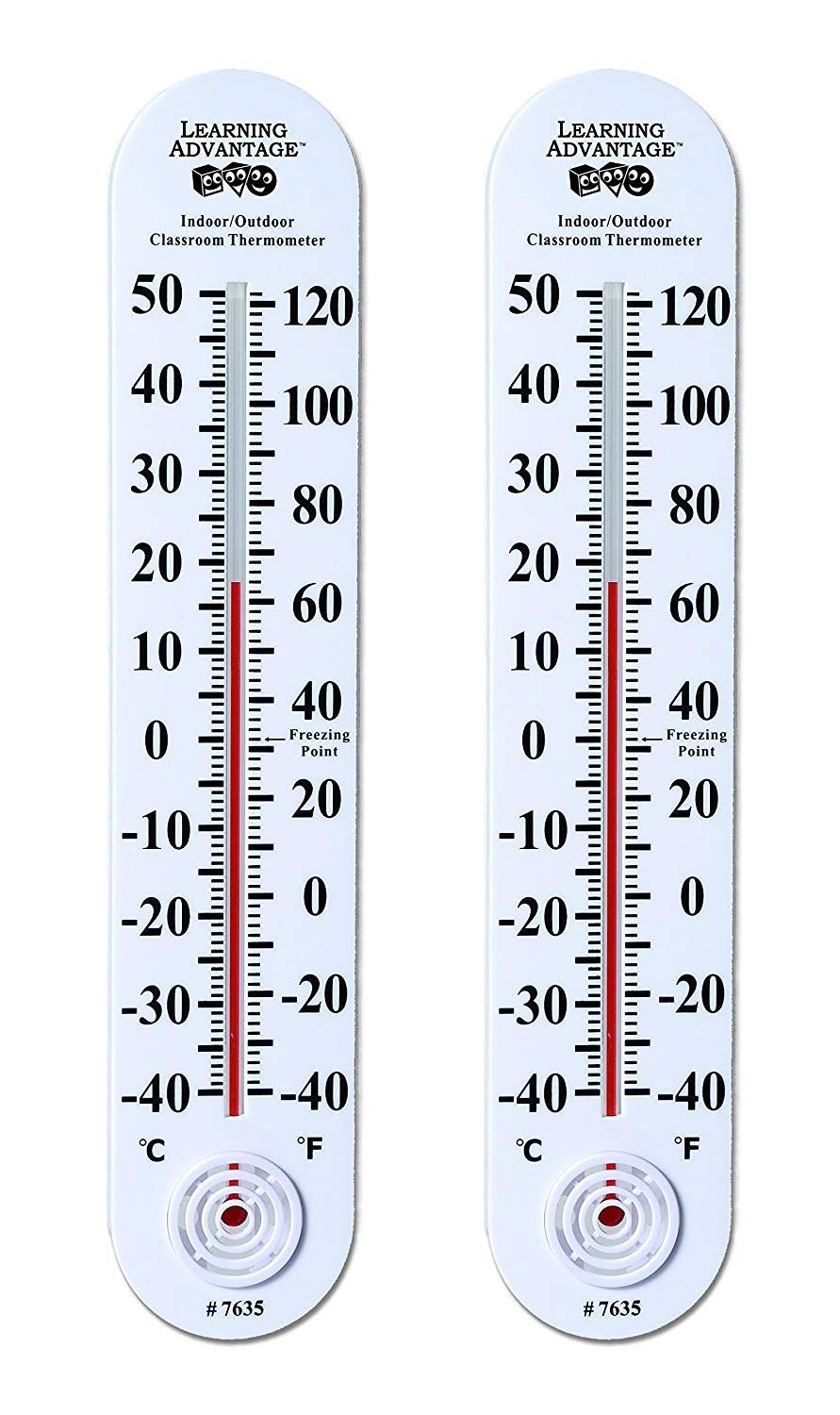 Learning Advantage 7635 Indoor/Outdoor Classroom Thermometer Large for School Use Learning Thermometer (2-(Pack))