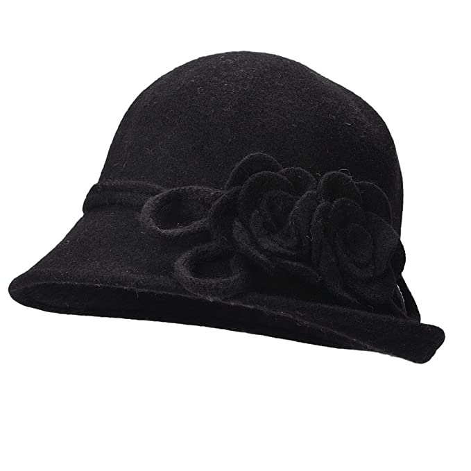 ca8ff46ef97 Lawliet Womens Retro Collapsible Soft Knit Wool Cloche Hat Bucket Flower  A466 (Black)