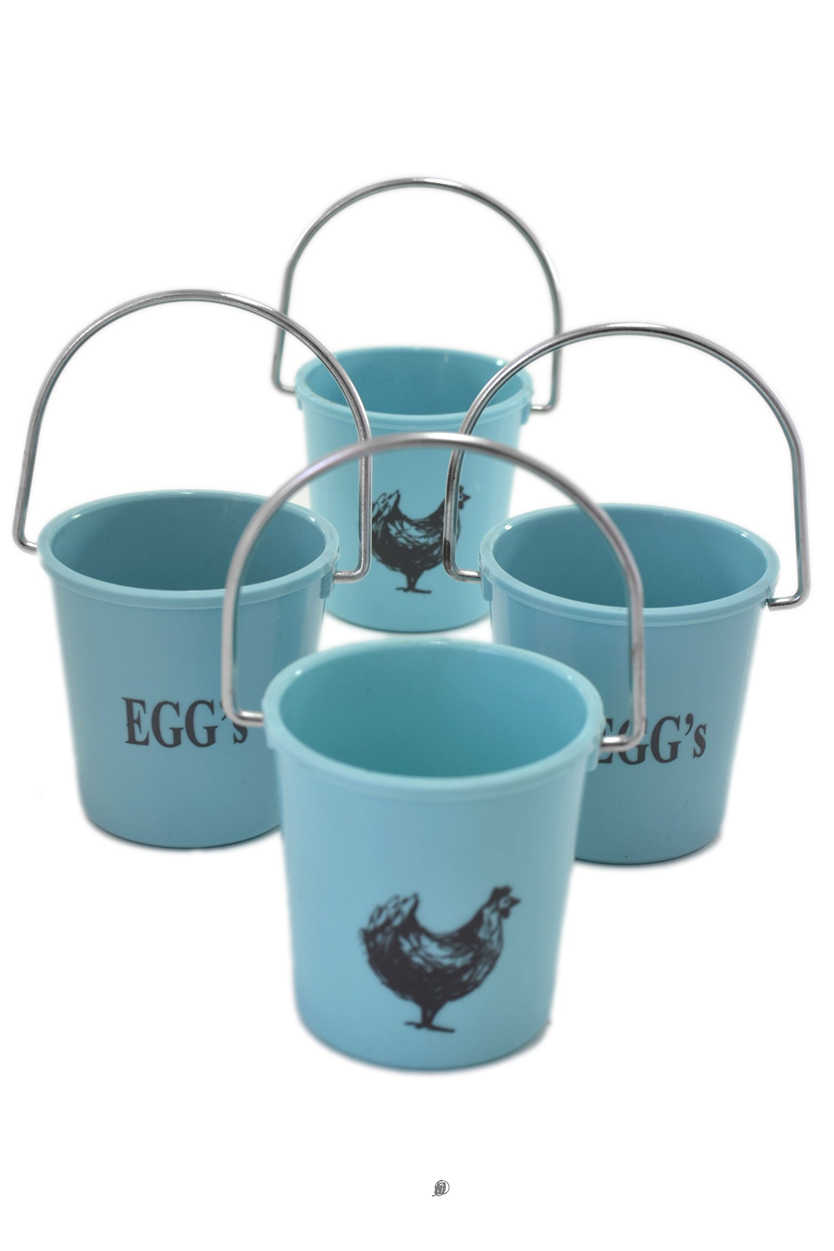 Set 4 Blue Pail Chicken Design Cup Soft Boiled Egg Holder Stands with handle