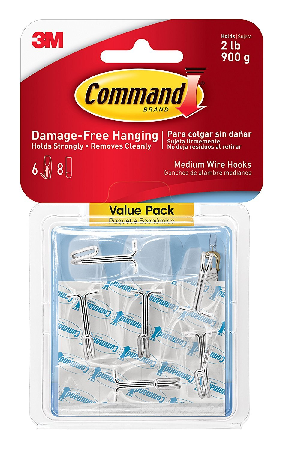 Command Wire Toggle Hook Value Pack TLTL, Medium, Clear, 12-Hooks