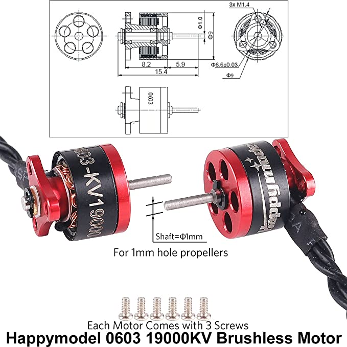 Buy Crazepony 4pcs 0603 Brushless Motors 19000KV 1S Version 1mm