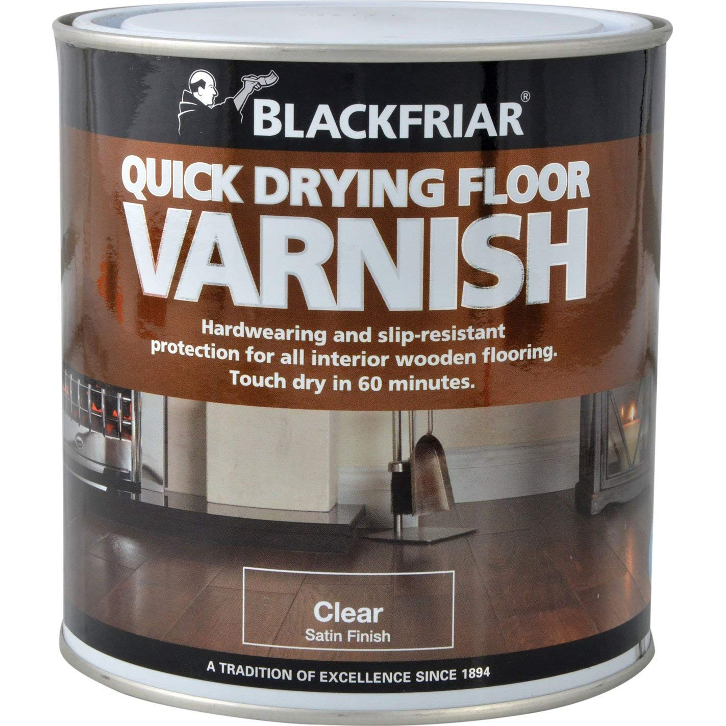 Blackfriar BKFDTFVS1L Duratough Floor Varnish, 1 Litre, Satin Toolbank