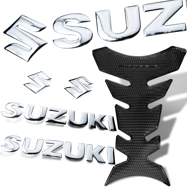 3D Pro Grip Polish Trim Black Fuel Tank Pad + 2pcs 8'' x 1.25'' Chrome Glossy ABS Decal Suzuki Logo Emblem
