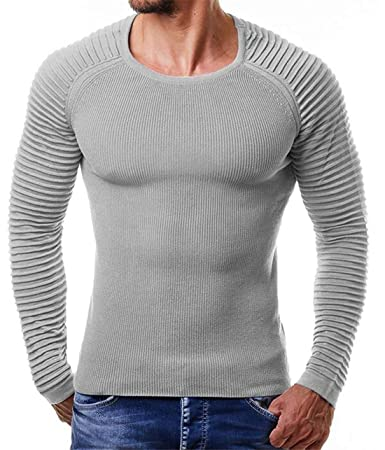 Zantt Mens Knit Slim Stud Details Basic Crew Neck Casual Pullover Sweater