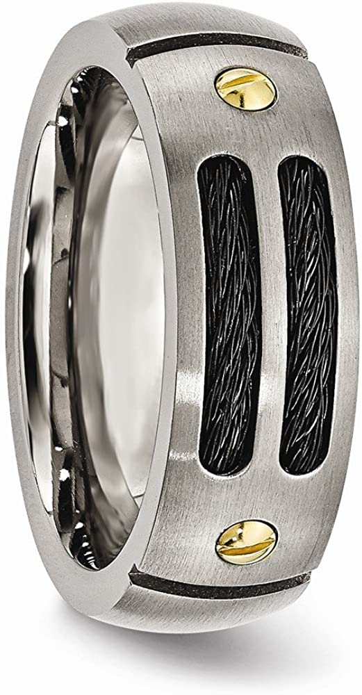 Bridal Wedding Bands Fancy Bands Titanium Grooved Black and Yellow IP-plated 8mm Brushed Band Size 6.5