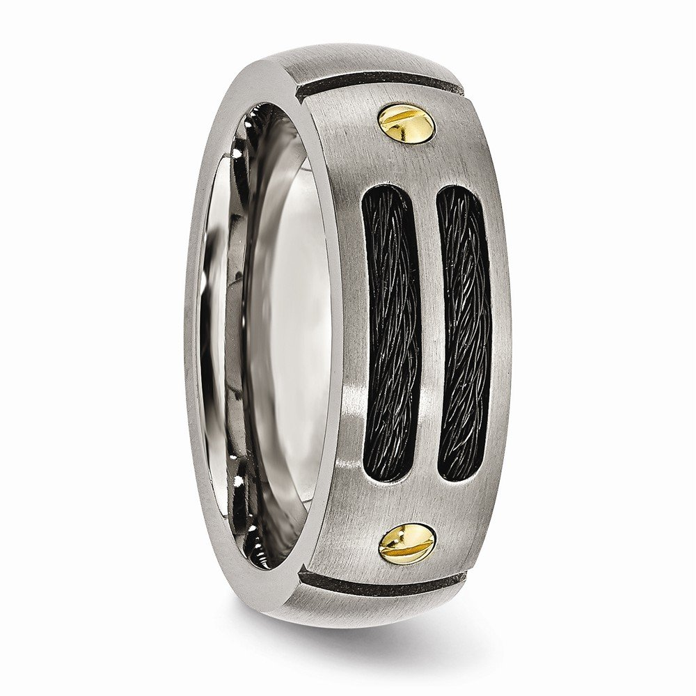 Bridal Wedding Bands Fancy Bands Titanium Grooved Black and Yellow IP-plated 8mm Brushed Band Size 13.5