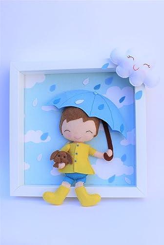 Cuadro niño de fieltro para la decoración infantil.: Amazon ...