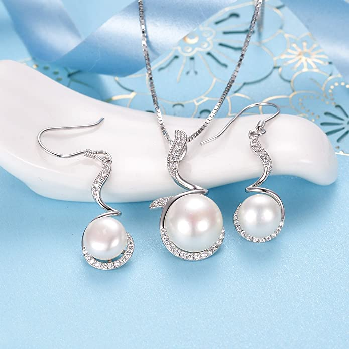 Jewelryonclick Pearl Pendant Charm 6 Carat Natural Oval Gemstone 92.5 Sterling Silver