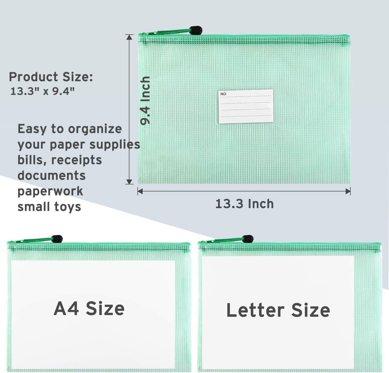 Letter Size//A4 Size Document Bag Zipper Document Bag Zipper Document Pouch for Office Home Travel Storage 20 Pack Plastic Zip File Document Folders with Label Pocket Sooez Mesh Zipper Pouch