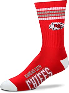 For Bare Feet NFL 4 Stripe Deuce Crew Socks Mens - Kansas City Chiefs