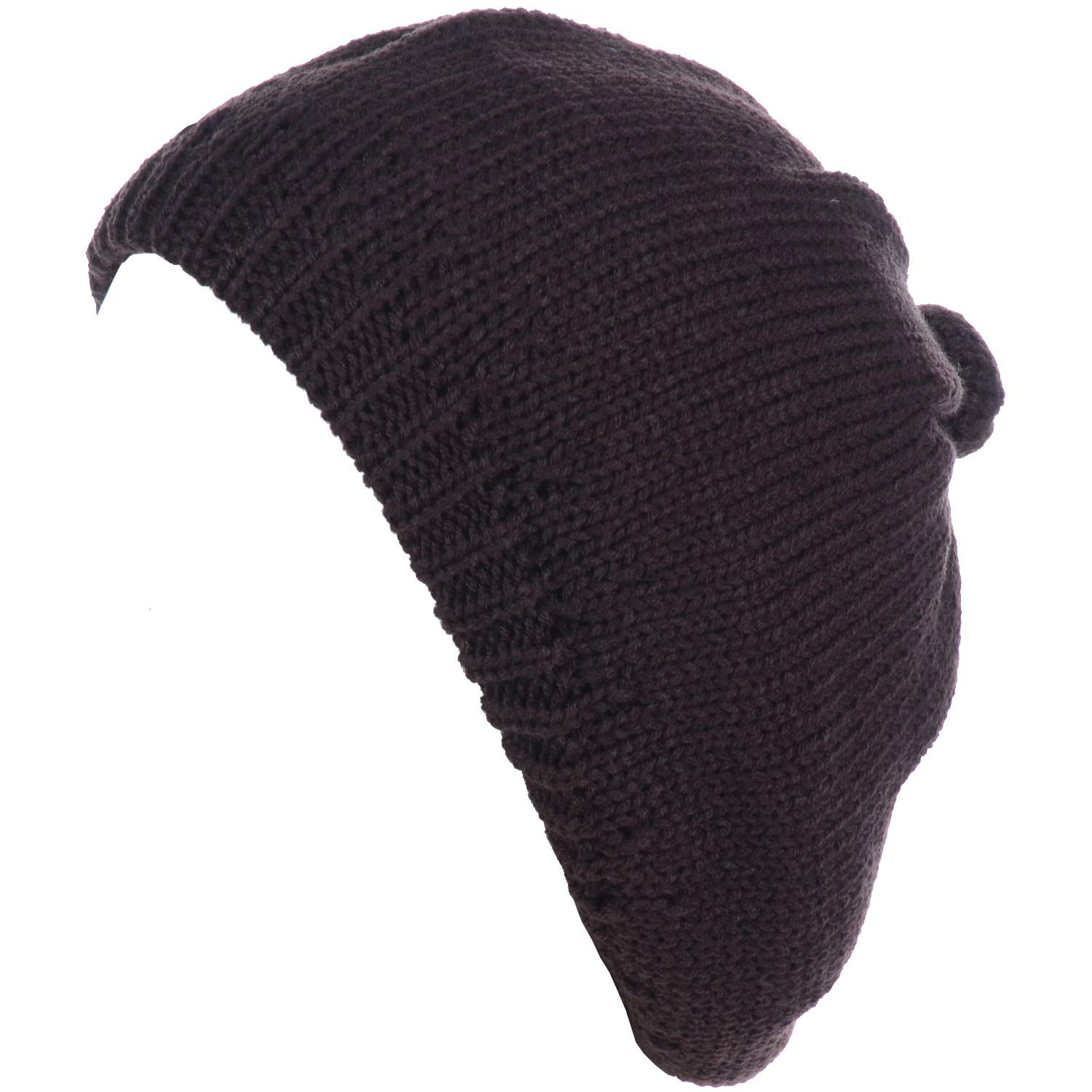 BYOS Womens Winter Classic Cable Fleece Lined Knit Beret Beanie Hat Gloves Set