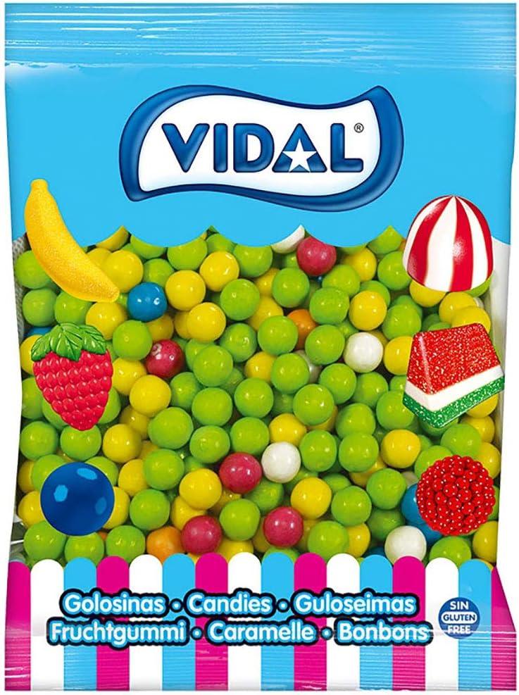 Vidal Golosinas. Bolas de Chicle Grageado de 16 mm. Surtido de deliciosos sabores: limón, naranja, y fresa. Bolsa 2 kg