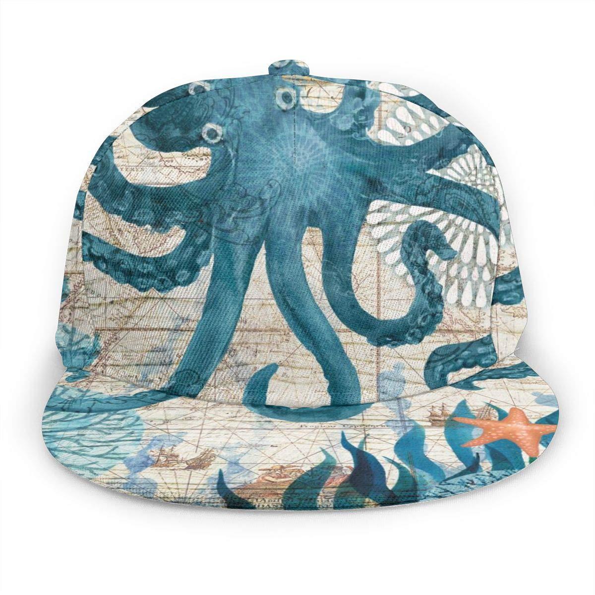 Sea World Octopus Womens Classic Hip Hop Baseball Cap 100/% Cotton Unisex Soft Adjustable Size Black