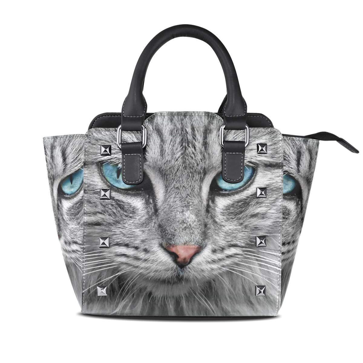 Design1 Handbag bluee Eyed Cat Genuine Leather Tote Rivet Bag Shoulder Strap Top Handle Women
