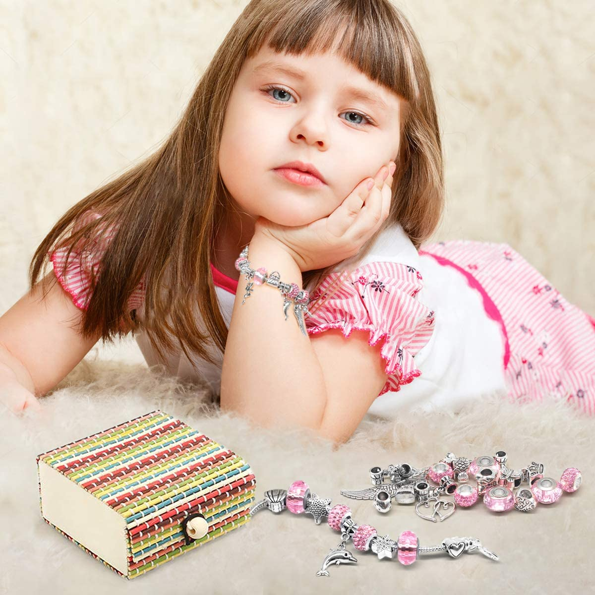 DIY Silver Plated Bead Snake Chain Jewelry Bracelet BIIB Girls Charm Bracelet Making Set Nice Gifts for Girls 3 Silver Chains Girls Jewellery Making Kits for Kids Present For 8-12 Year Old Girl