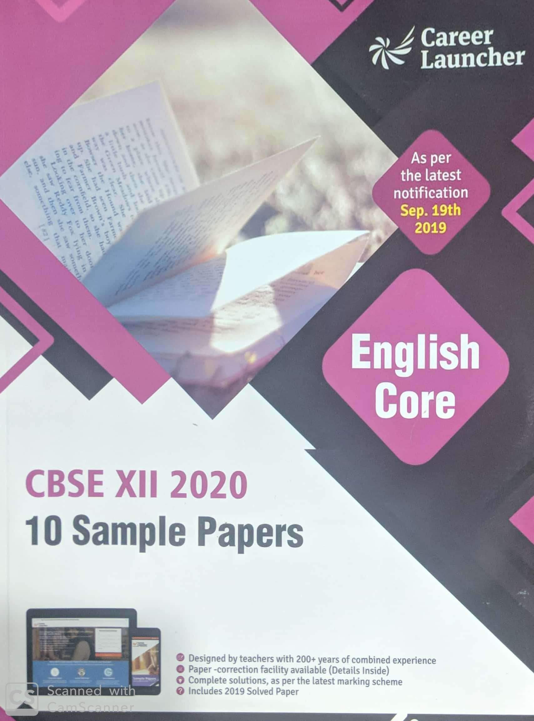 CBSE 2020 : Class XII - 10 Sample Papers - English Core Paperback – 3 October 2019