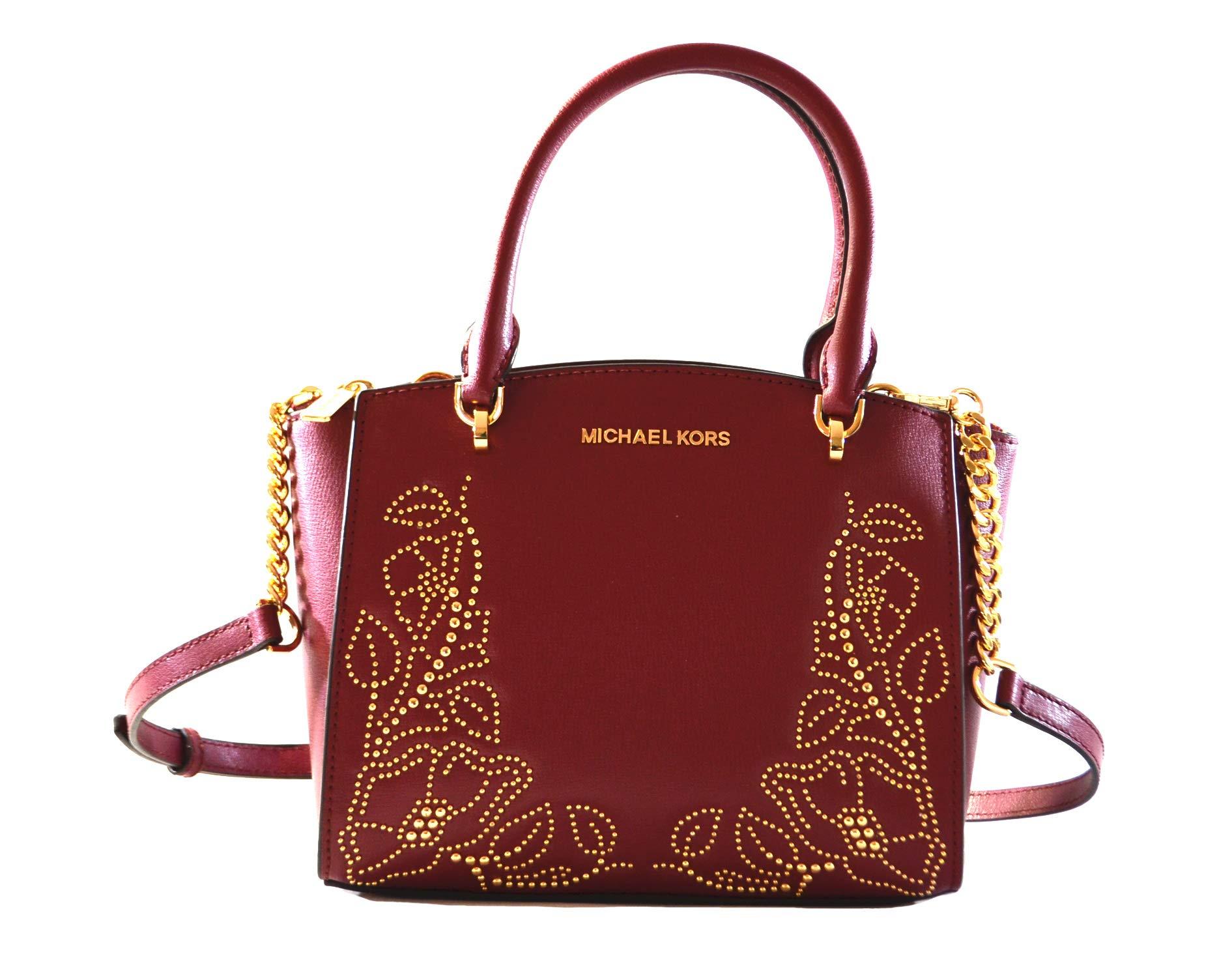 Michael Kors Women's Ellis Small Convertible Leather Gold Toned Studs Satchel Crossbody Bag Purse Handbag (Mulberry)