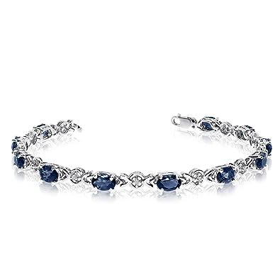 Amazon Com 10k White Gold Oval Sapphire And Diamond Bracelet 6