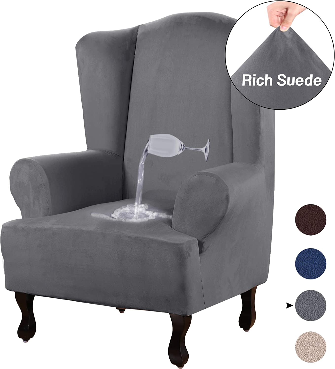 Stretch Spandex Sofa Cover Wingback Chair Slipcover Protector ~Deep Grey