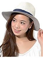 (ディーループ)D-LOOP ペーパーブレード 中折れ 女優帽 つば広 ハット リボン 付き 紫外線 日よけ 120013