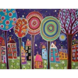 Artifact Puzzles - Karla Gerard Night Village Wooden Jigsaw Puzzle