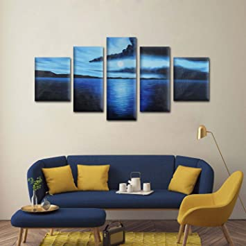 raybre art pintado a mano al leo cuadros en lienzo aurora azul