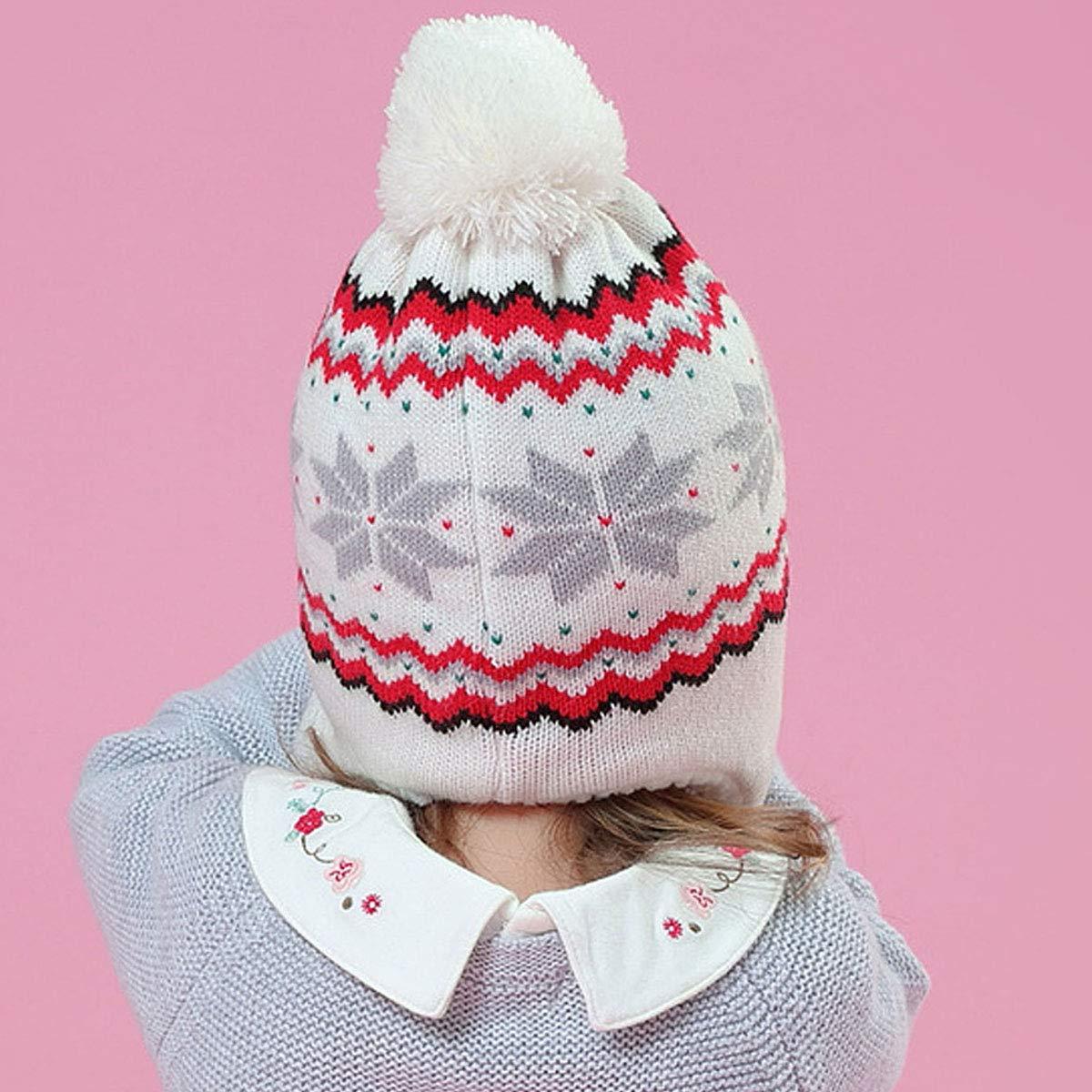 CLARA Girls Winter Knit Snowflake Pattern Earflap Soft Cozy Fleece Lining Beanie Hat Cap