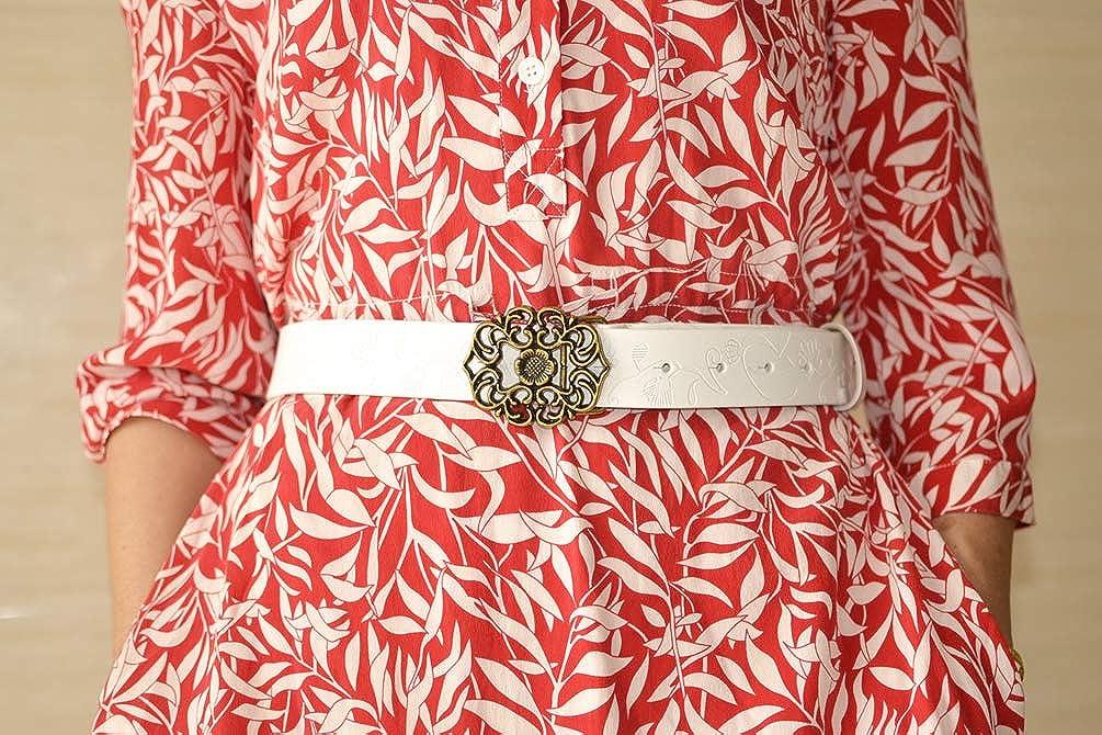 AmyKer donna Cintura in vera pelle per pantaloni jeans Abito con fibbia floreale rosso bianco nero Cintura donna vintage fiore marrone