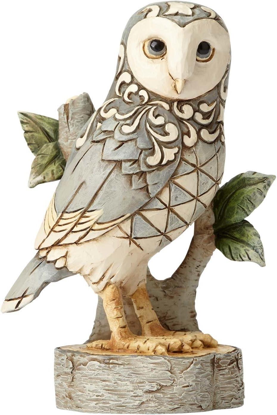 "Enesco 4056970 Jim Shore Heartwood Creek White Woodland Owl On Branch Stone Resin Figurine, 4.49"", Grey"