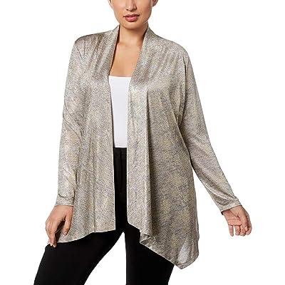 Calvin Klein Women's Plus Size Metallic Snake Flyaway, Gold, 0X at Women's Clothing store