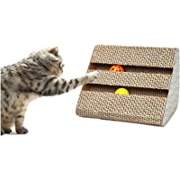 Funny Corrugated Paper Pet Cat Scratch Board Toy Kitten Claw Scratching Pad Mat Scratcher Cats Training Tools With Two Bells