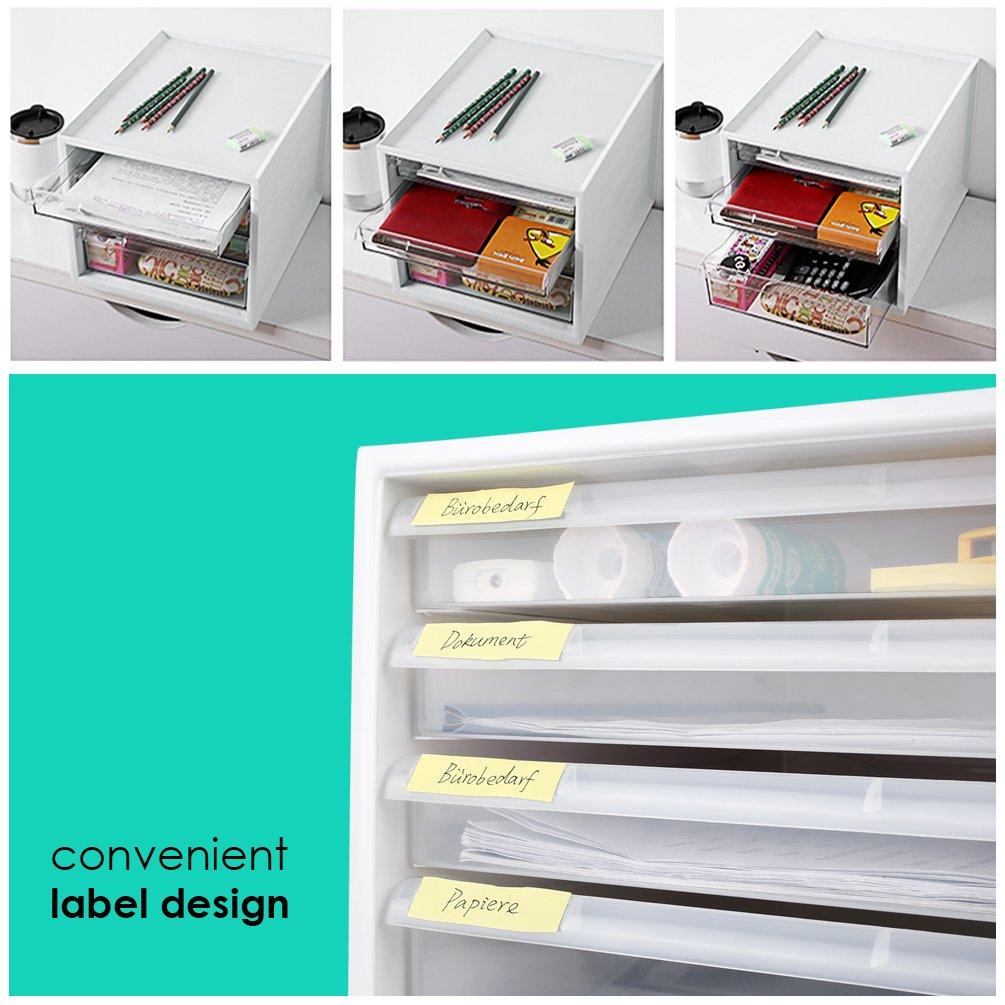 Homfa Archivador de Sobremesa Almacenamiento de Escritorio Organizador para Oficina con 4 Cajas Blanco 335x275x255mm