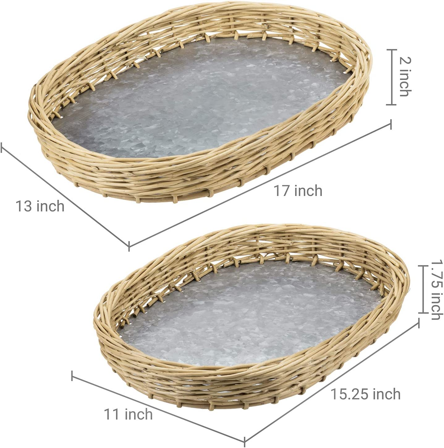 MyGift Oval-Shaped Rustic Woven Rattan Nesting Serving Trays with Galvanized Silver Metal Bottoms Set of 2