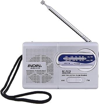 Szaerfa Radio portátil pequeña con Antena para Personas Mayores de Emergencia con Funcionamiento a batería