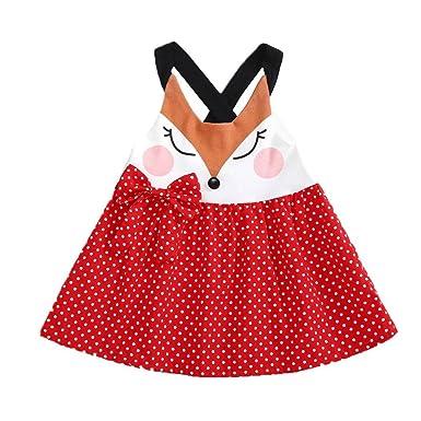 a3e0ba613463 Angelof Robe Fox Couture Bretelles CroiséEs Dos BéBé Fille Blouse Imprimé à  Pois Bowknot T-