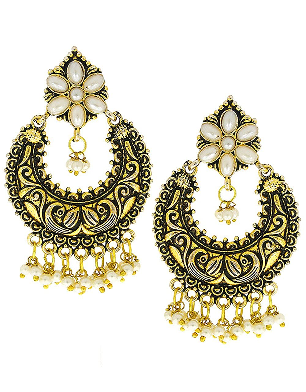 Anuradha Art White Colour Very Pretty Chandbali Styled Designer Oxidised Earrings For Women//Girls