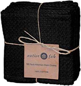 Native Fab 18 Pack Kitchen Dish Cloths Cotton 12x12 Absorbent Washable, Dish Towels, Restaurant Cleaning Towels, Bar Mops Towels, Rags for Home Kitchen Bars, Black