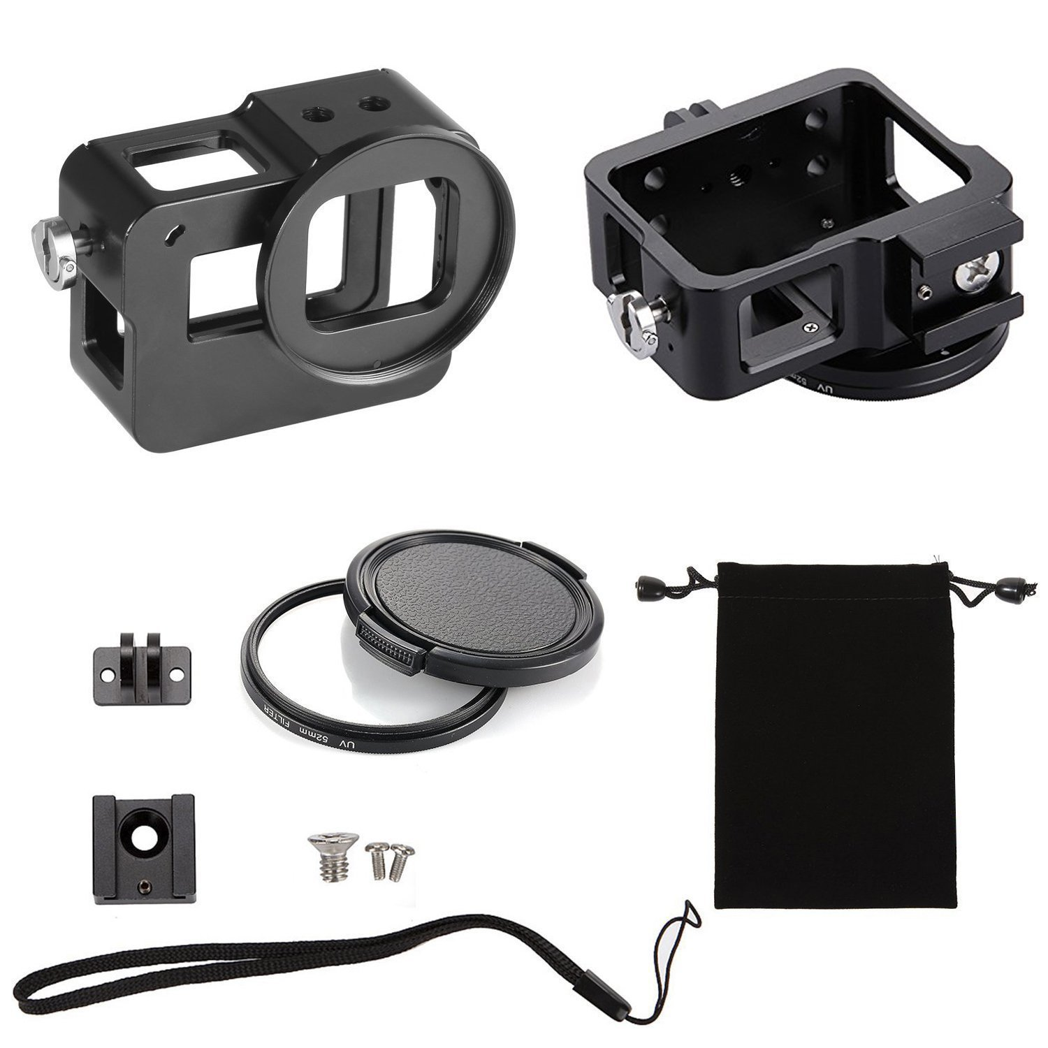 Best GoPro HERO 6/ 5 Action Sports Camera 100% CNC Aluminum Frame Protective Solid Shell Skeleton Housing Case Mount With Standard UV 52mm Filter Black (Black)