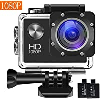 Action Camera, 12MP 1080P 2 Inch LCD Screen, Waterproof Sports Cam 120 Degree Wide Angle Lens, 30m Sport Camera DV Camcorder with with 2 Rechargeable Batteries and Mounting Accessories Kit 1080T02