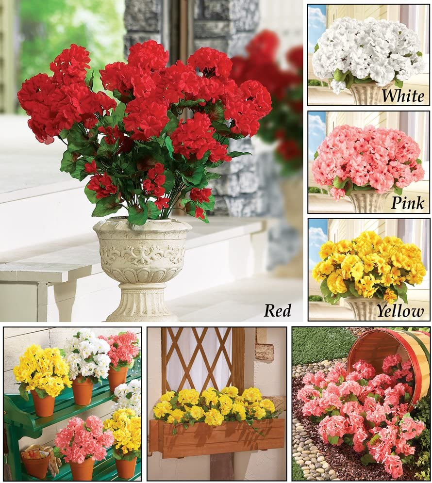 Set of 3 Maintenance Free Artificial Flowers for Indoor or Outdoor Display Collections Etc Artificial Geranium Floral Bush Use 3 Bouquets Separately or Combine All 3 Pink
