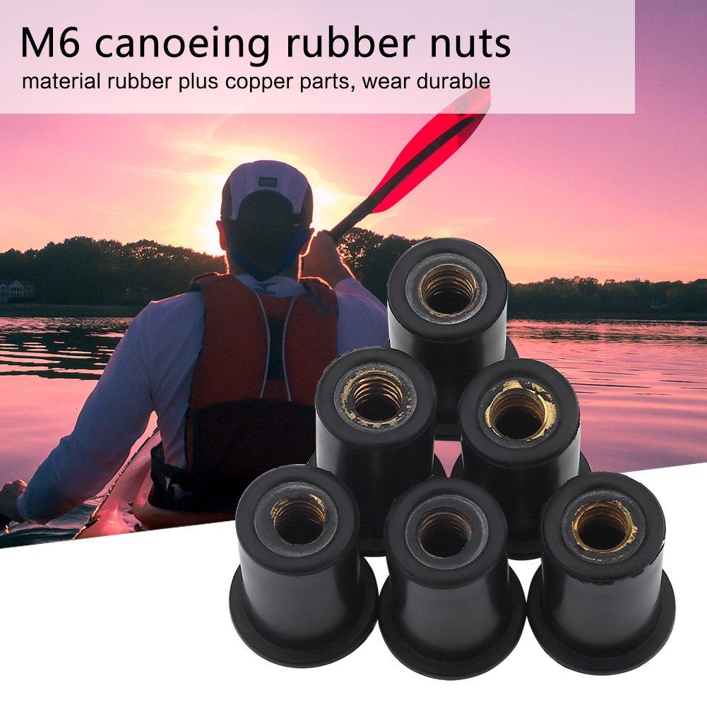 Pernos de Parabrisas para Motocicletas 6 Piezas de Tuercas M6 Tuercas de Goma para Kayak Canoa