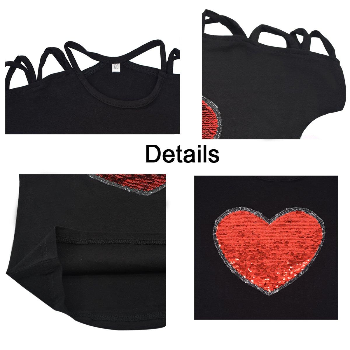 "VIPbuy Kid Girls' Short Sleeve T-Shirt Magic Reversible Sequins Letter Print Tee Tops (Height: 47.2""-51.2"", Black) by VIPbuy (Image #5)"