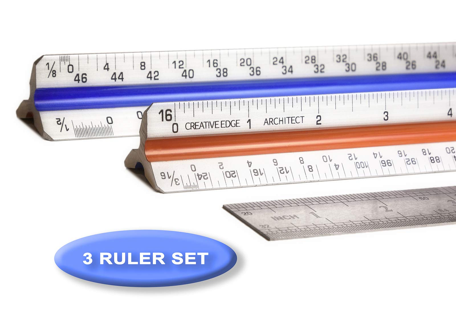 Creative Edge Architectural Scale Ruler - Set of 3 Rulers | 2 Triangular 12'' Architect Rulers with Imperial Scale and 1 Standard 12'' Stainless Steel Ruler - Color Coded by Creative Edge