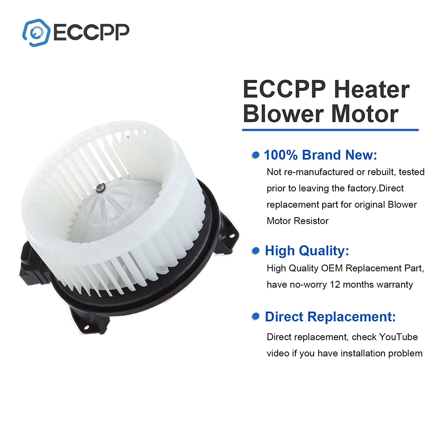 ECCPP ABS plastic Heater Blower Motor w//Fan Cage Replacement fit for 1998-2002 Toyota Corolla Front